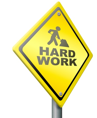 hard work ahead tough job be ambitious even if you have a difficult challenging task with impact to finish  ambition to meet the challenge icon, yellow warning road sign, Stock Photo - 14852048