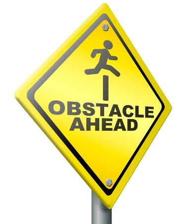 obstacle ahead caution for danger take the challenge and overcome the problem prepare for difficult and hard times jump the hurdle Stock Photo - 14852052