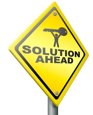 solution ahead, answer to solve all your problems, resolution yellow warning road sign find the key to success Stock Photo - 14852041