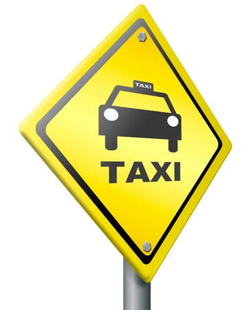 raod: taxi icon or warning raod sign call a cab for public transportation fast and personal traffic Stock Photo