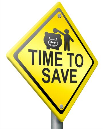time account: save for later plan ahead saving money in piggy bank savings now and spend later after crisis  Stock Photo
