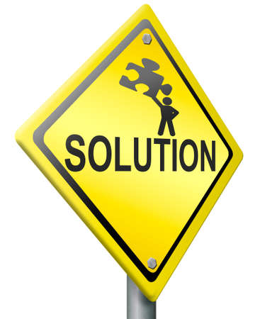 solution, problem solving concept warning sign with text and figure holding jigsaw puzzle yellow road sign with text Stock Photo - 14945236