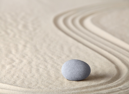 zen garden meditation stone as concept for relaxation harmony simplicity and meditation Asian Japanese culture photo