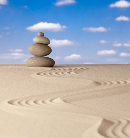 Zen meditation stone traditional Japanese garden with sand and rock pattern concept for simplicity harmony and serenity helps in concentration and relaxation photo