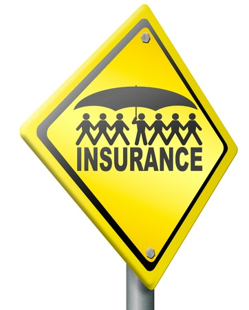 life or health insurance solidarity gives protection and safety under umbrella, road sign photo