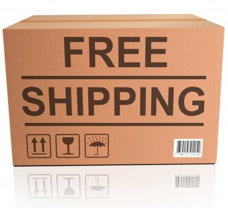 送料: オンライン web ショップ コンセプトやインター ネット ショッピング注文テキストと段ボール箱のアイコンから無料配布パッケージ配達 写真素材