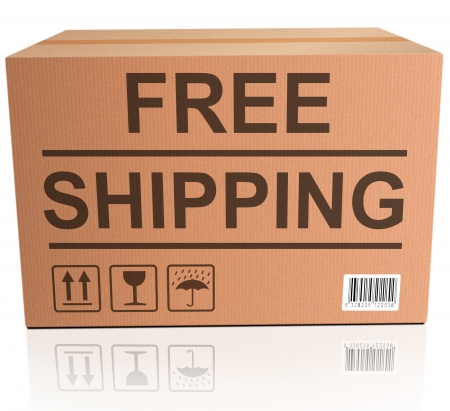 order shipping: free shipping package delivery from online web shop concept and icon for internet shopping order cardboard box with text