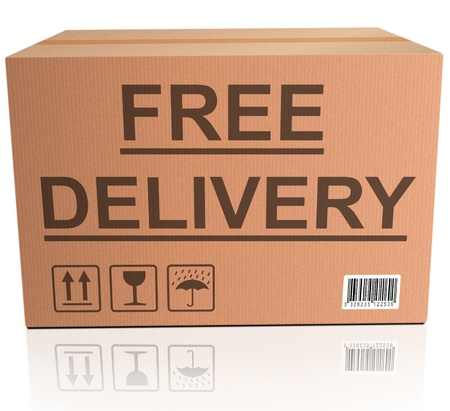free delivery or package shipping order web shop shipment in cardboard box icon for online shopping ecommerce button photo