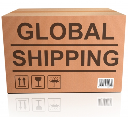 shopping order: global shipping web shop icon concept for shipping online shopping order global cardboard box with text package delivery ecommerce