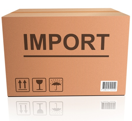 international trade: import international trade global economy importing package shipping in brown cardboard box
