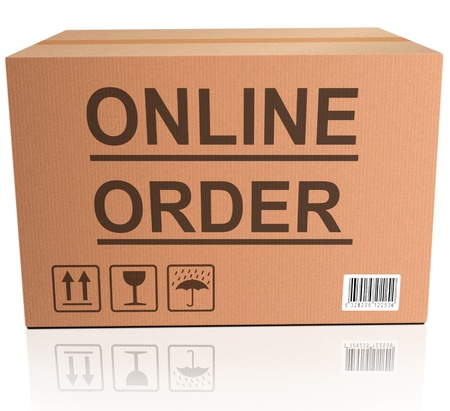 order here webshop icon cardboard box with text online internet web shop illustration Stock Illustration - 15889233