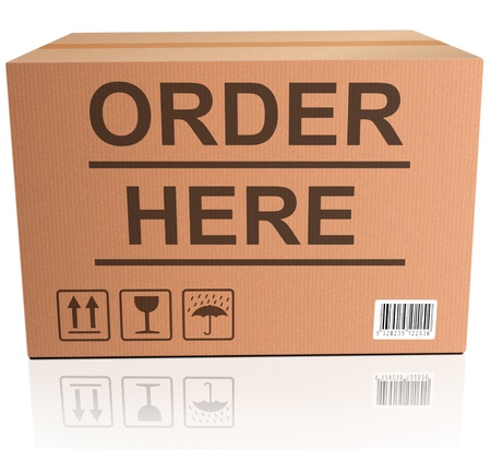 order here: order here webshop icon cardboard box with text online internet web shop illustration