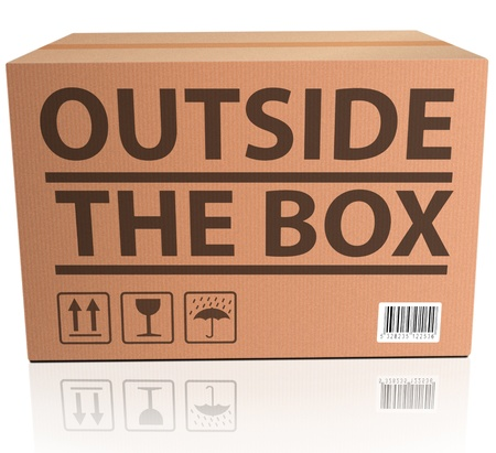 outside box: Outside the Box innovation, unconventional and creative thinking in solving a problem or brainstorming cardboard package  Stock Photo
