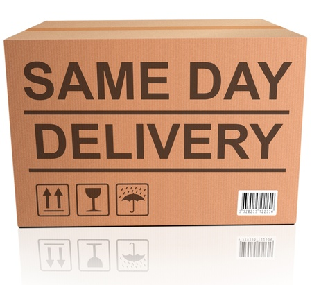 same day package delivery cardboard box with text icon for web shop fast shipping of internet order ecommerce photo