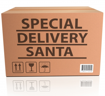 santa package special delivery for christmas present of gift surprise santa claus merry christmas shipment order santa present photo