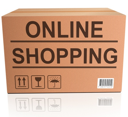 webshop: online shopping webshop icon order package on internet web shop with delivery at home  Stock Photo