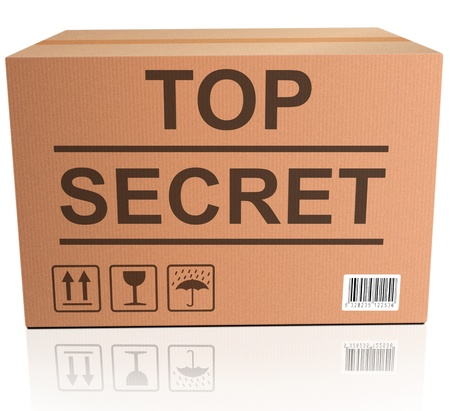 top secret package cardboard box with important classified and confidential information photo