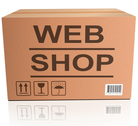 web shop icon shopping icon for placing online order on internet webshop brown cardboard box with text photo