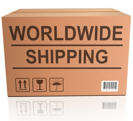 shopping order: worldwide shipping global and international trade web shop icon for placing online shopping order Stock Photo