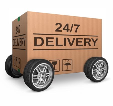 entrega del pedido paquete 24/7 caja de cartón de envío reloj redondo servicio de envío de la tienda en línea de Internet