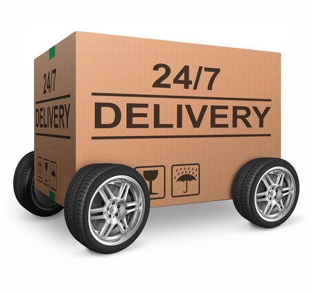 24 7: order delivery 247 cardboard box package shipping clock round service  shipment from online internet store Stock Photo
