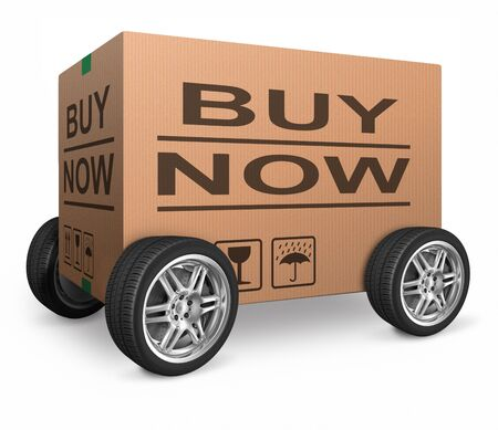 online shoppping: buy now web shop icon order online internet webshop shopping package delivery wheel Stock Photo
