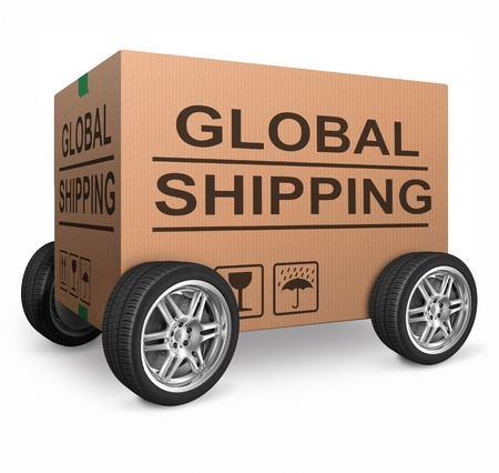 global shipping web shop icon concept for worldwide shipping online shopping order global cardboard box with text package delivery ecommerce Stock Photo - 15978705