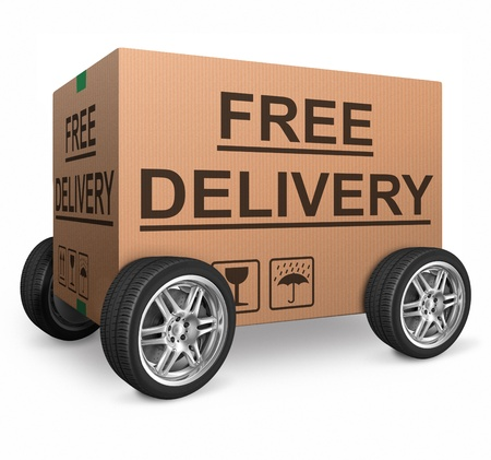 free delivery or package shipping order web shop shipment in cardboard box icon for online shopping ecommerce button Stock Photo - 15978697