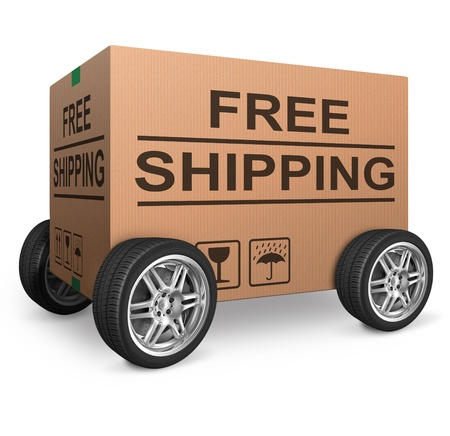 order shipping: free shipping or package delivery order web shop shipment in cardboard box icon for online shopping ecommerce button