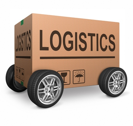 importation: logistics freight transportation cardboard box with text logistic transport import or export of products isolated