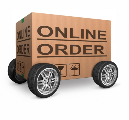 order here webshop icon cardboard box with text online internet web shop illustration Stock Illustration - 15978714
