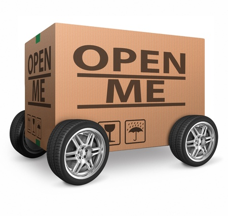 mailed: open me internet web icon, opening reveal and discover surprise and mystery Stock Photo