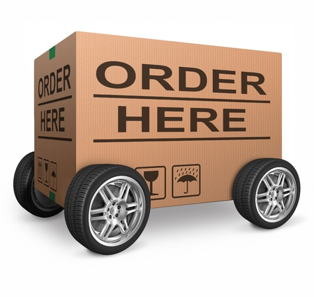 order here icon for web shop or online shopping button cardboard box ecommerce concept internet commerce Stock Photo - 15978702