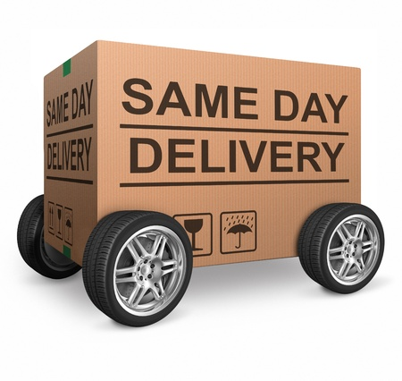 package delivery same day shipment urgent and quick cardboard box internet web shop order delivery Stock Photo - 15978713