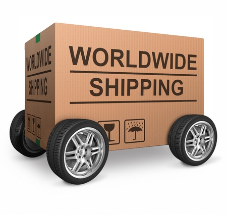 shopping order: worldwide shipping web shop icon concept for shipping online shopping order global cardboard box with text package delivery ecommerce wheel