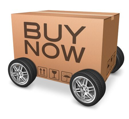 webshop: buy now webshop icon cardboard box with wheels and text concept for web shop online order package delivery
