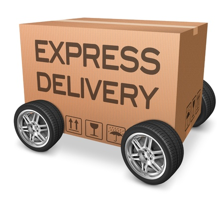 webshop: express delivery web shop icon package shipping from online order on internet webshop cardboard box with text and wheels nobody Stock Photo