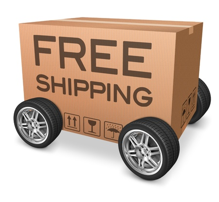 free shipping package delivery web shop icon concept for online webshop order shipping cardboard box with text and wheels photo