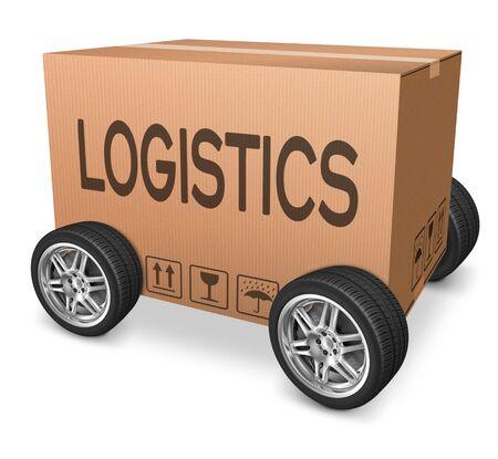 importation: Logistics freight transportation cardboard box with text international trade importation and exportation