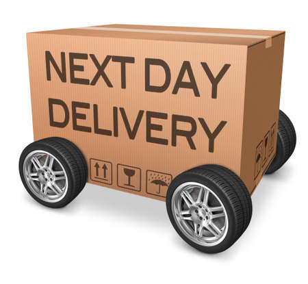 next day delivery cardboard box from web shop photo