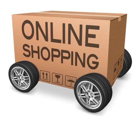 online shopping web shop icon online order from internet webshop cardboard box package with text and wheels  photo