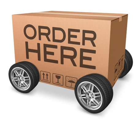 order here: order here webshop icon,cardboard box with text and wheels Stock Photo