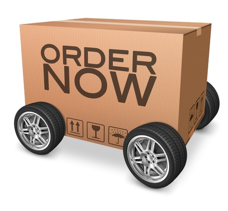 webshop: order now on online internet webshop package delivery cardboard box icon with text and wheels