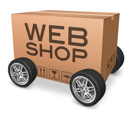 webshop: web shop icon webshop package delivery online shopping on internet shop cardboard box with text Stock Photo