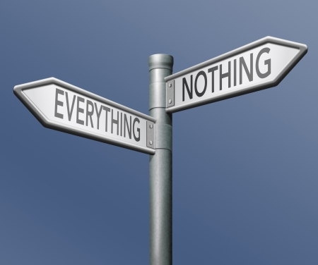 taking risks: everything or nothing win or lose taking risk success or failure all or nothing  Stock Photo