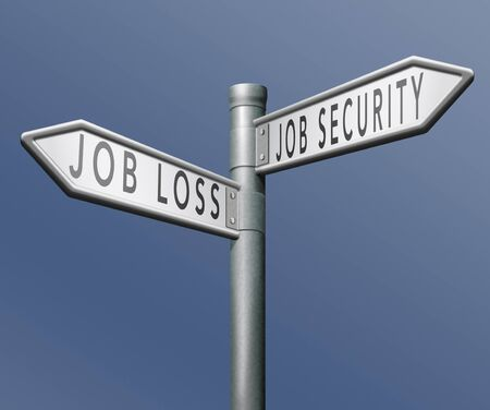 job loss or security being fired or not due to crisis and recession Stock Photo