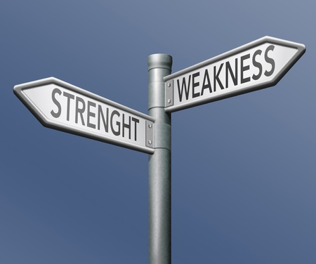 weakness: strength or weakness overcome tham and analise potential roadsign with text