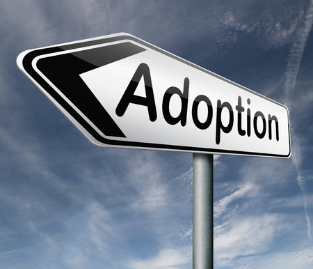 guardianship: child adoption becoming a legal guardian and getting guardianship over young child road sign arrow Stock Photo