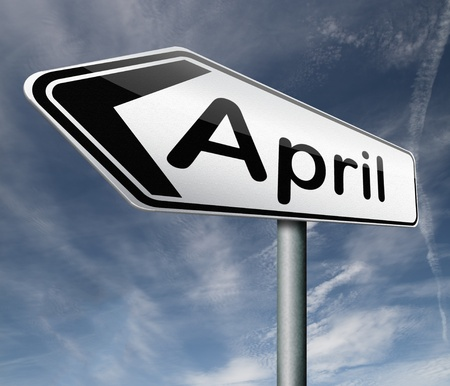 April pointing to next month of the year spring road sign arrow Stock Photo - 16575402