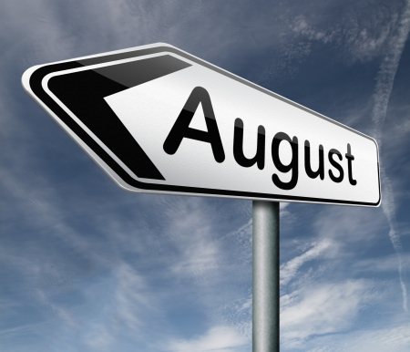 August pointing to next month of the year summer road sign arrow Stock Photo - 16575450